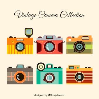 Bunte vintage-kamera-sammlung