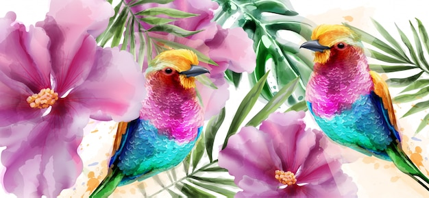 Bunte vögel und blumen aquarell