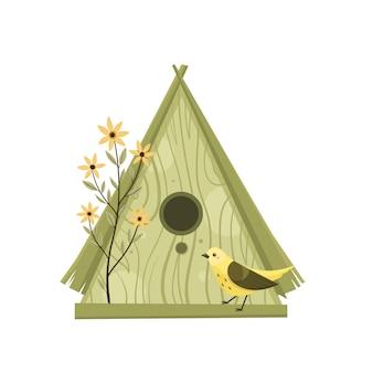 Bunte vogelhäuschen, niedliche vögel und nesterillustrationen, hand gezeichnet lokalisiert