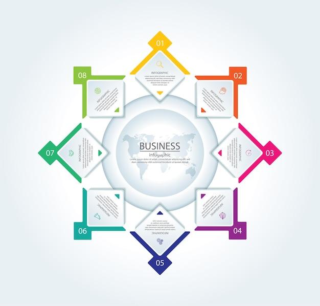 Bunte vorlage der infografik des präsentationsgeschäfts mit 8 schritten