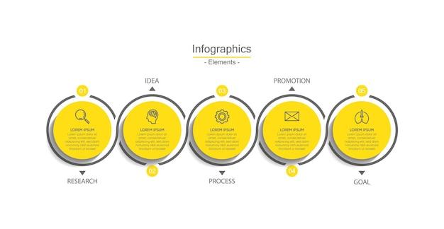 Bunte vorlage der infografik des präsentationsgeschäfts mit schritten