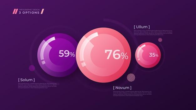 Bunte vorlage zum erstellen von infografiken, präsentationen, berichten, visualisierungen. globale farbfelder