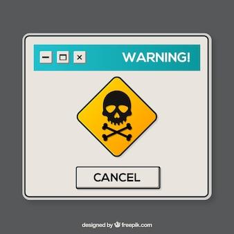 Bunte warnung knallen oben mit flachem design auf