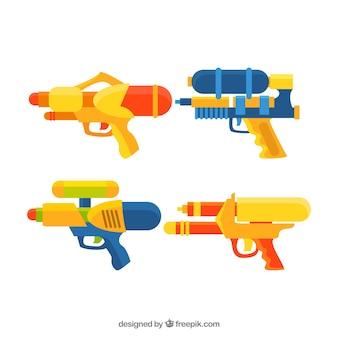 Bunte wassergewehrsammlung in der flachen art