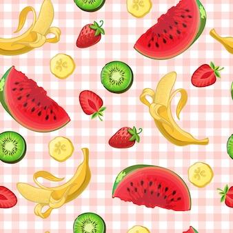 Bunte wassermelonen-kiwi-bananen- und erdbeerfrucht- und scheibensymbole auf rosa küchentischdecke