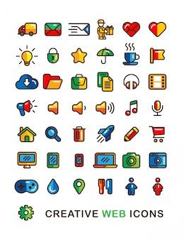 Bunte web-ikonen stellten lineare flache entwurfsartikone ein.