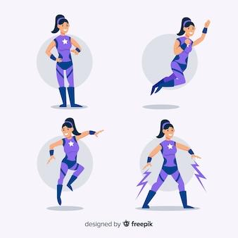 Bunte weibliche superhelden-sammlung mit flachem design