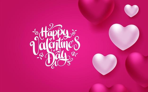 Bunte weiche und glatte valentinstag-grußkarte mit herzen auf rosa