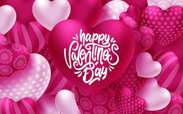 Bunte weiche und glatte valentinstag-grußkarte mit herzen Premium Vektoren