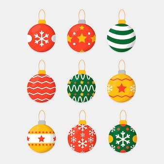 Bunte weihnachtsbälle im flachen design