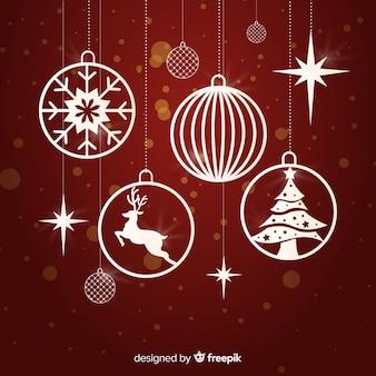 Bunte weihnachtsballsammlung mit flachem design