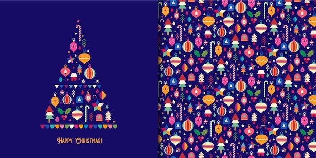 Bunte weihnachtsbaumkarte mit nahtlosem muster der verzierungen