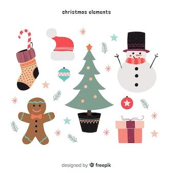 Bunte weihnachtselementsammlung mit flachem design