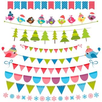 Bunte weihnachtsflaggen und girlanden gesetzt