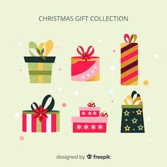 Bunte weihnachtsgeschenkboxensammlung im flachen design