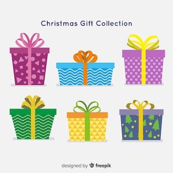 Bunte weihnachtsgeschenkboxsammlung im flachen design