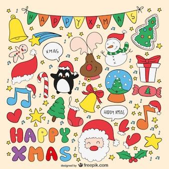 Bunte weihnachtskarte mit cartoons