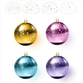 Bunte weihnachtskugeln mit konfetti