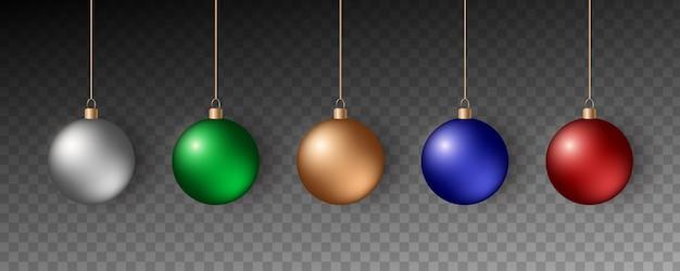 Bunte weihnachtskugeln. set realistische dekorationen.