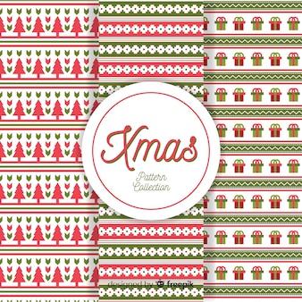 Bunte weihnachtsmustersammlung mit geometrischem design