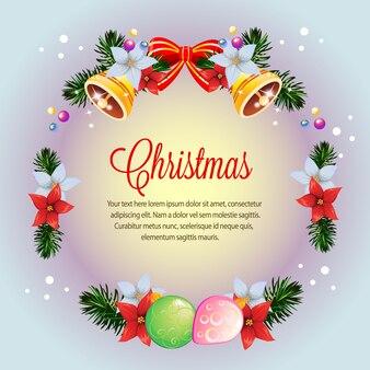 Bunte weihnachtspoinsettiakarte des kreiskranzes
