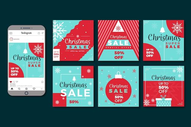 Bunte weihnachtsverkauf instagram beitragssammlung