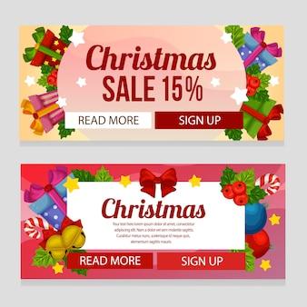 Bunte weihnachtsverkaufs-fahnenschablone mit feiertagsversorgungen