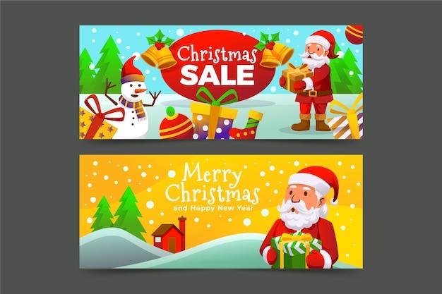 Bunte weihnachtsverkaufsfahnen im flachen design