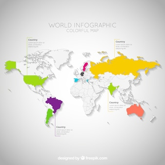Bunte weltkarte infografik