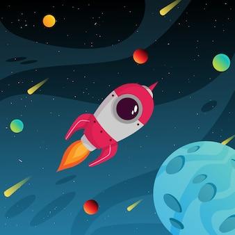 Bunte weltraumgalaxie mit planeten- und weltraumrakete entfernen sich