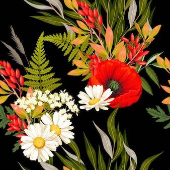 Bunte wiesenblumen und grüner vektor nahtloser hintergrund