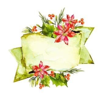 Bunte winterblumen mit leerer fahne