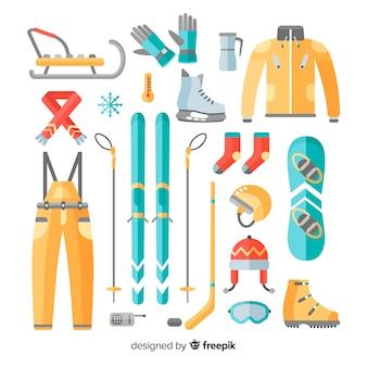 Bunte wintersportausrüstungssammlung