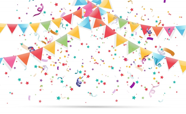 Bunte winzige konfetti und bänder auf transparentem hintergrund. festliche veranstaltung und party. mehrfarbiger hintergrund.