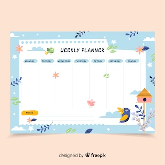 Bunte wöchentliche zeitplanschablone mit flachem design