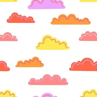 Bunte wolken auf weißem hintergrund. vektor nahtlose muster