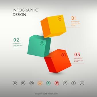 Bunte würfel infografik