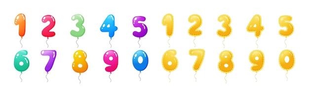 Bunte zahlen glänzend und goldene luftballon-set. heliumfiguren zum feiern von geburtstagsfeier, hochzeit, jubiläum. folienballons mit faden. flacher vektor des gummifliegenden festlichen feiertagsdekors