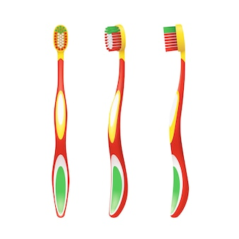 Bunte zahnbürste für kind von verschiedenen seiten lokalisiert auf weiß