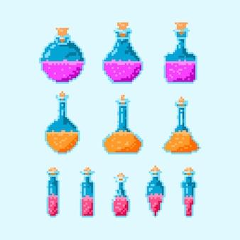 Bunte zaubertrank-flaschenpixel