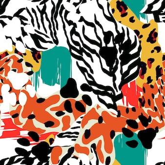 Bunte zebra-tierhaut-vektor-nahtloses muster. dschungel-löwe-illustration. helles savanne-punkt-leopard-design. tapete ethnische katzenmode.