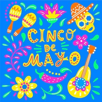 Bunte zeichnung von cinco de mayo