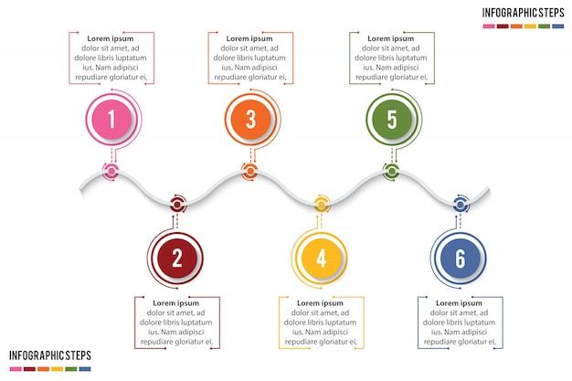 Bunte zeitleiste infografik mit 6 stufen wohnzimmer