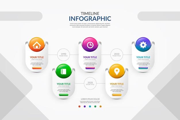 Bunte zeitleiste infografik