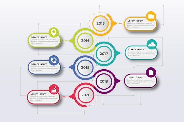 Bunte zeitleiste mit farbverlauf infografik