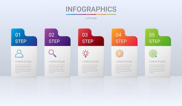 Bunte zeitlinien-infografikschablone mit schritten auf grauem hintergrund,