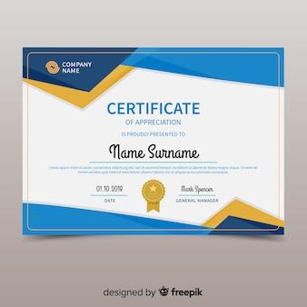 Bunte zertifikatschablone mit flachem design