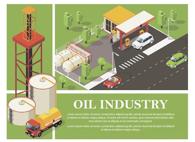 Bunte zusammensetzung der benzinindustrie mit tankstellenzisternen des öllastwagens und des derrick im isometrischen stil