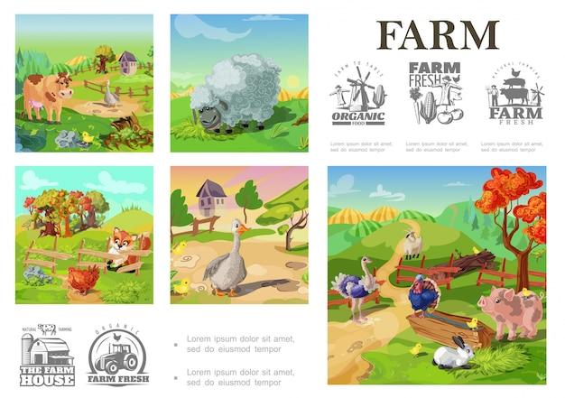 Bunte zusammensetzung der karikatur-nutztiere mit schafsschweinkuh-truthahnhahngans-kaninchen-ziegenganshuhn auf ländlicher landschaft und landwirtschaftsemblemen