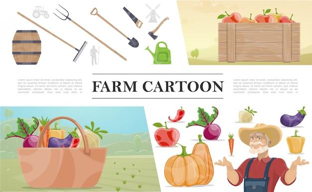 Bunte zusammensetzung der karikaturbauern mit handarbeitswerkzeugkiste des bauernholzfasses der apfelkiste des gemüses
